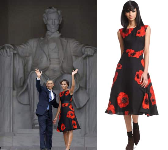Michelle Obama in Tracy Reese Embellished Flared Frock at March on Washington