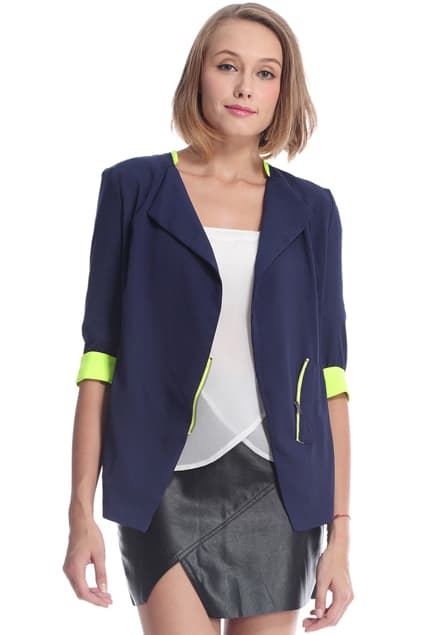 dual tone zippered blazer
