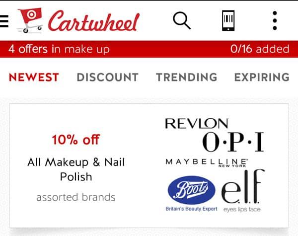 Target Cartwheel App: 10% Off All Makeup