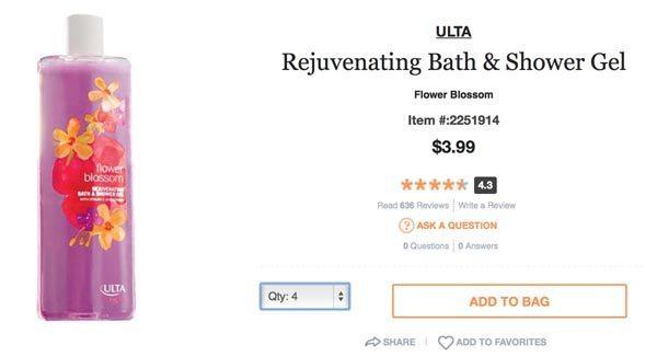 ULTA Rejuvenating Bath and Shower Gel