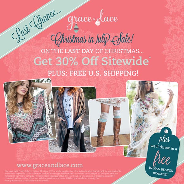 Grace and Lace Christmas in July Sale