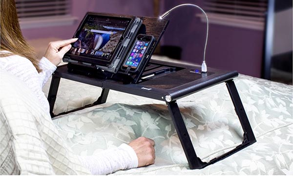 LEVO Bed Table with Rechargeable Power Bank for Tablets, Smartphones, and Laptops