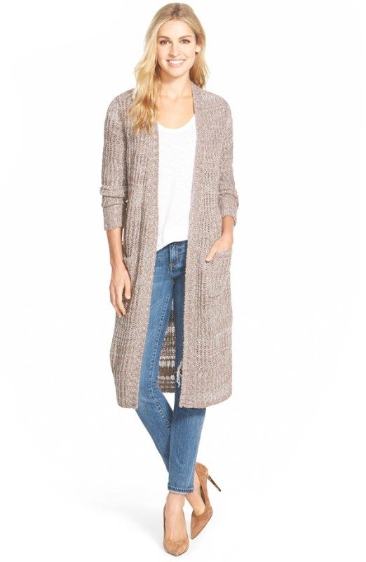 Caslon Long Open Front Cardigan