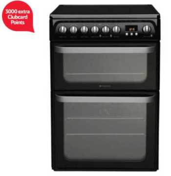 Hotpoint Ultima Electric Cooker, HUE61KS, Black