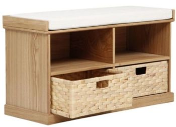Suffolk Hall Storage Bench with Woven Baskets, Pine
