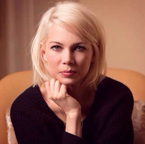 Michelle Williams Short Haircuts for Round Faces