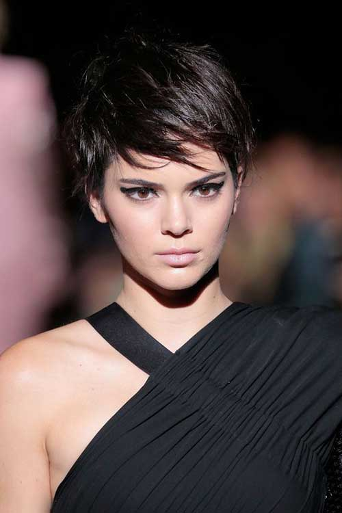 Kendall Jenner Brunette Pixie Hairstyle