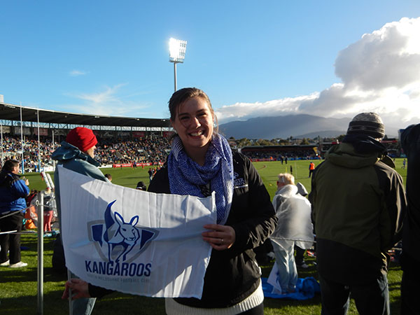 Chelsea at an Australian Rules Rugby game