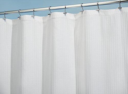 MDesign Cotton Blend Fabric Shower Curtain For Bathroom, Luxury Hotel U2013  Long 72u2033 X 84u2033, Whiteu2026