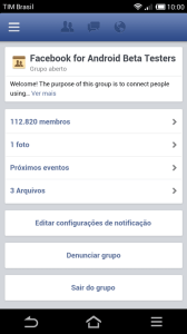 Grupo Facebook for Android Beta Testers