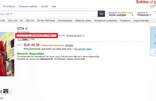 Amazon francesa lista Grand Theft Auto V para PCs