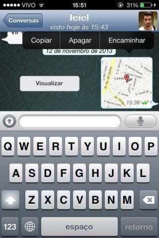 Exemplo de compartilhamento de localização no WhatsApp