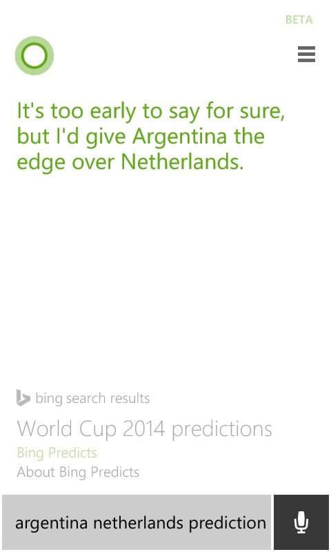 Previsao do Bing para Argentina x Holanda