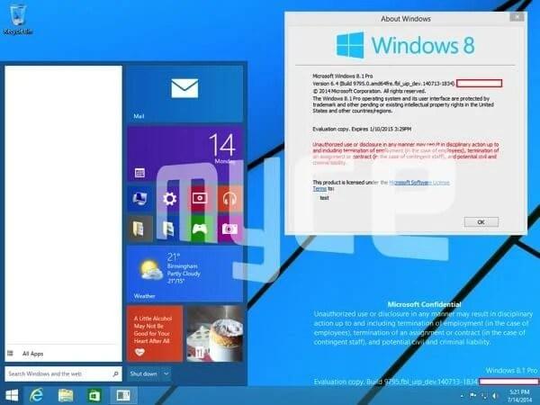 Windows 9 Menu Iniciar