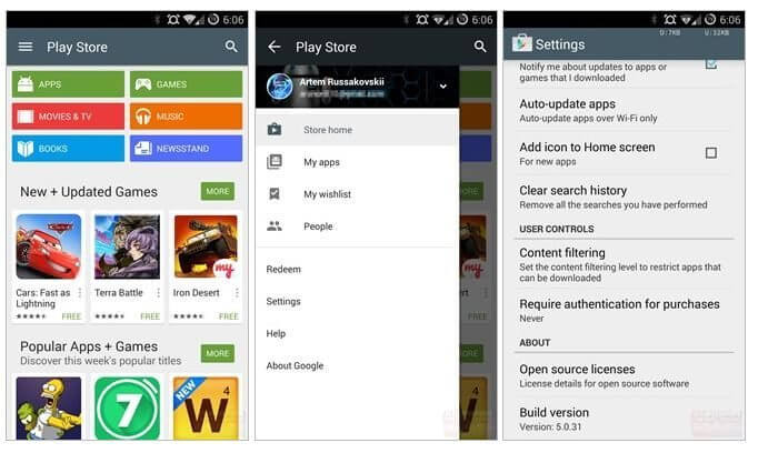 Google Play Store material design android l