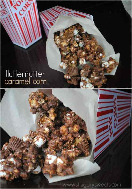 Fluffernutter Caramel Corn: homemade caramel corn with Reese's, marshmallow, chocolate and peanut butter!