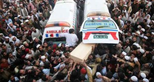 Funeral prayers of three Raja Bazaar incident victims offered
