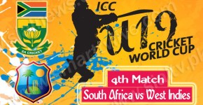 South Africa vs West Indies 4th Cricket Match Under-19 World Cup 2014 Live Streaming