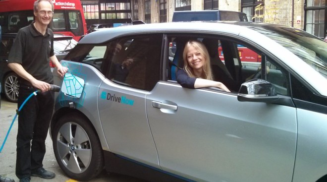 Driving a Drive Now electric car at Busworks