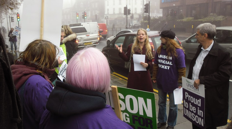 Sian Berry speaking at Barnet picket line