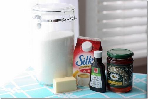 ingredients for vegan caramel - dairy free