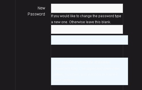 BBpress black background password descriptions invisible