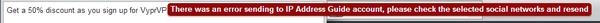 error message when posting to google+