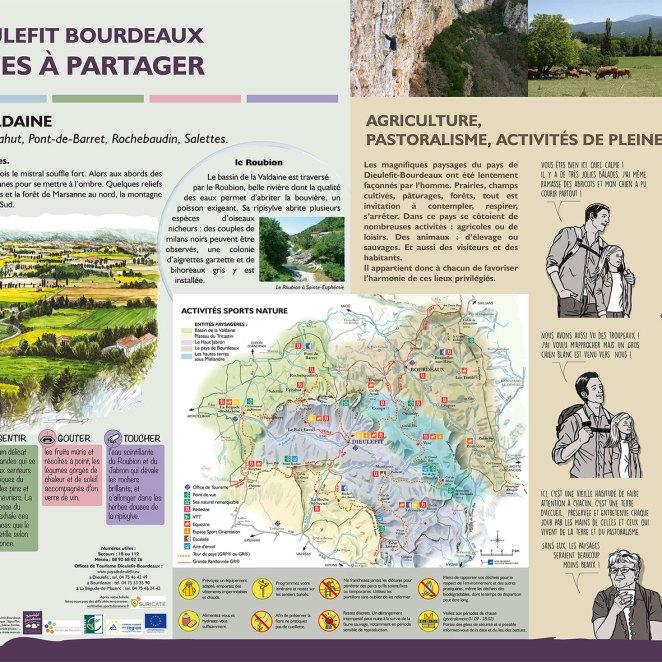 Conception graphique panneaux valorisation espaces naturels - CC Dieulefit Bourdeaux (26)