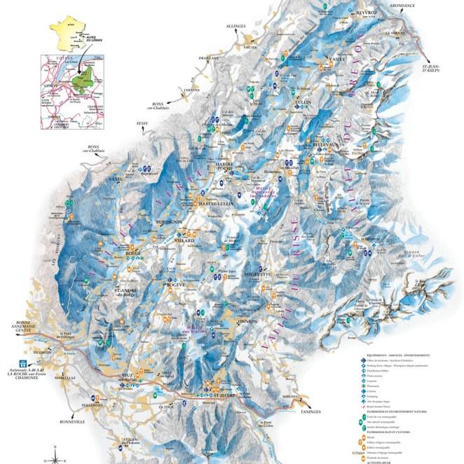 Carte touristique hiver Alpes du Léman (74)
