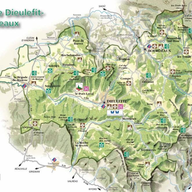 Carte touristique Dieulefit-Bourdeaux (26)