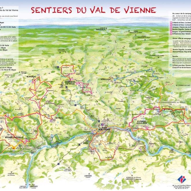 Carte rando Val de Vienne (87)