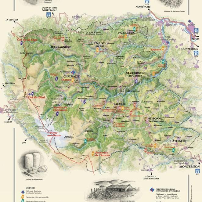 Carte touristique Haut Lignon (42)