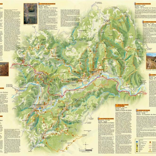 Carte rando secteur Les Ollières (07)