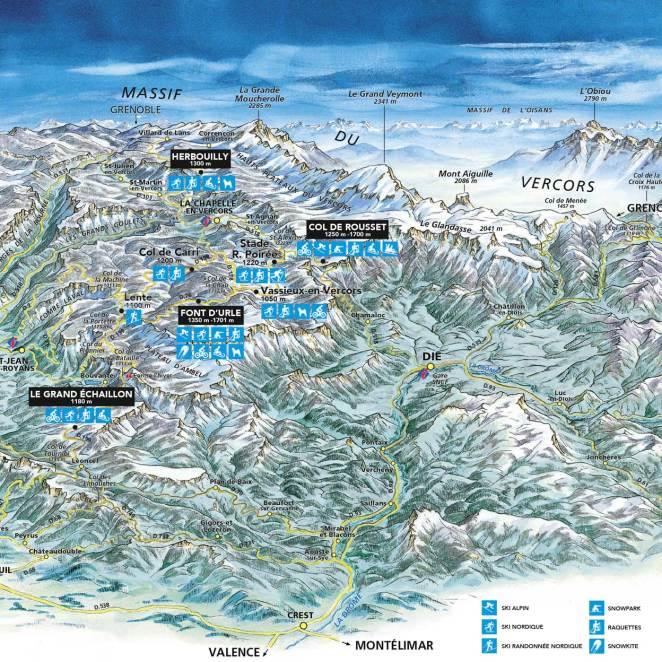 Carte des stations de la Drôme - CG26