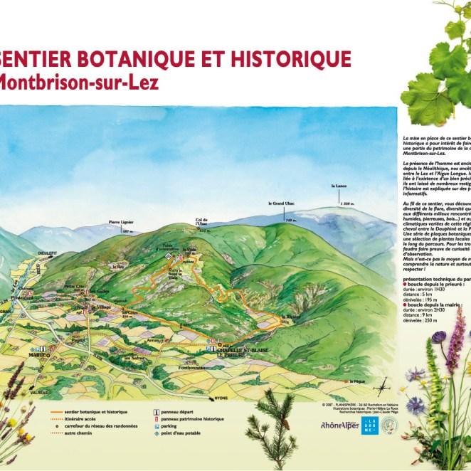 Panneau départ sentier botanique et historique - Montbrison (26)