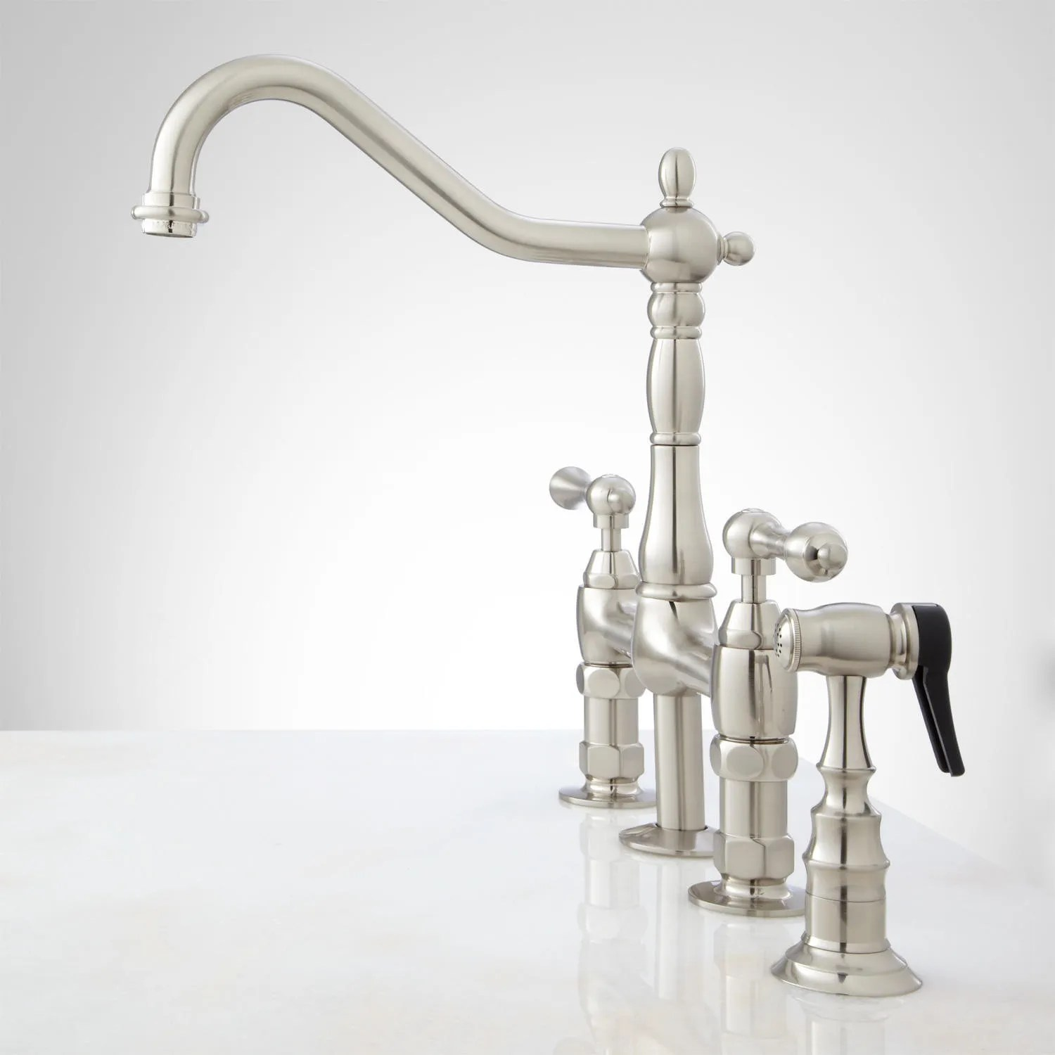bellevue bridge kitchen faucet with brass sprayer lever handles country kitchen faucets Brushed Nickel Side