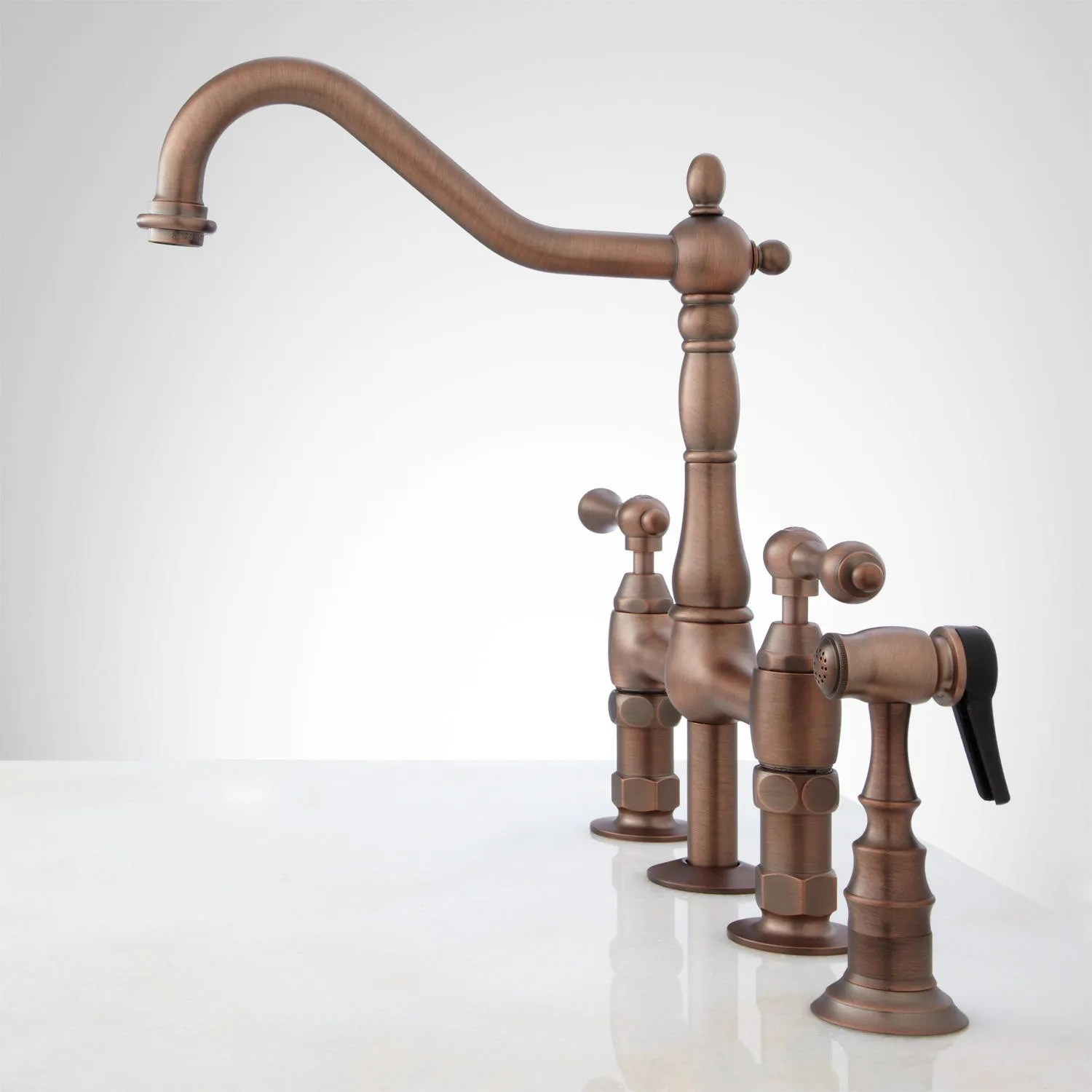 bellevue bridge kitchen faucet with brass sprayer lever handles vintage style kitchen faucets Oil Rubbed Bronze Side