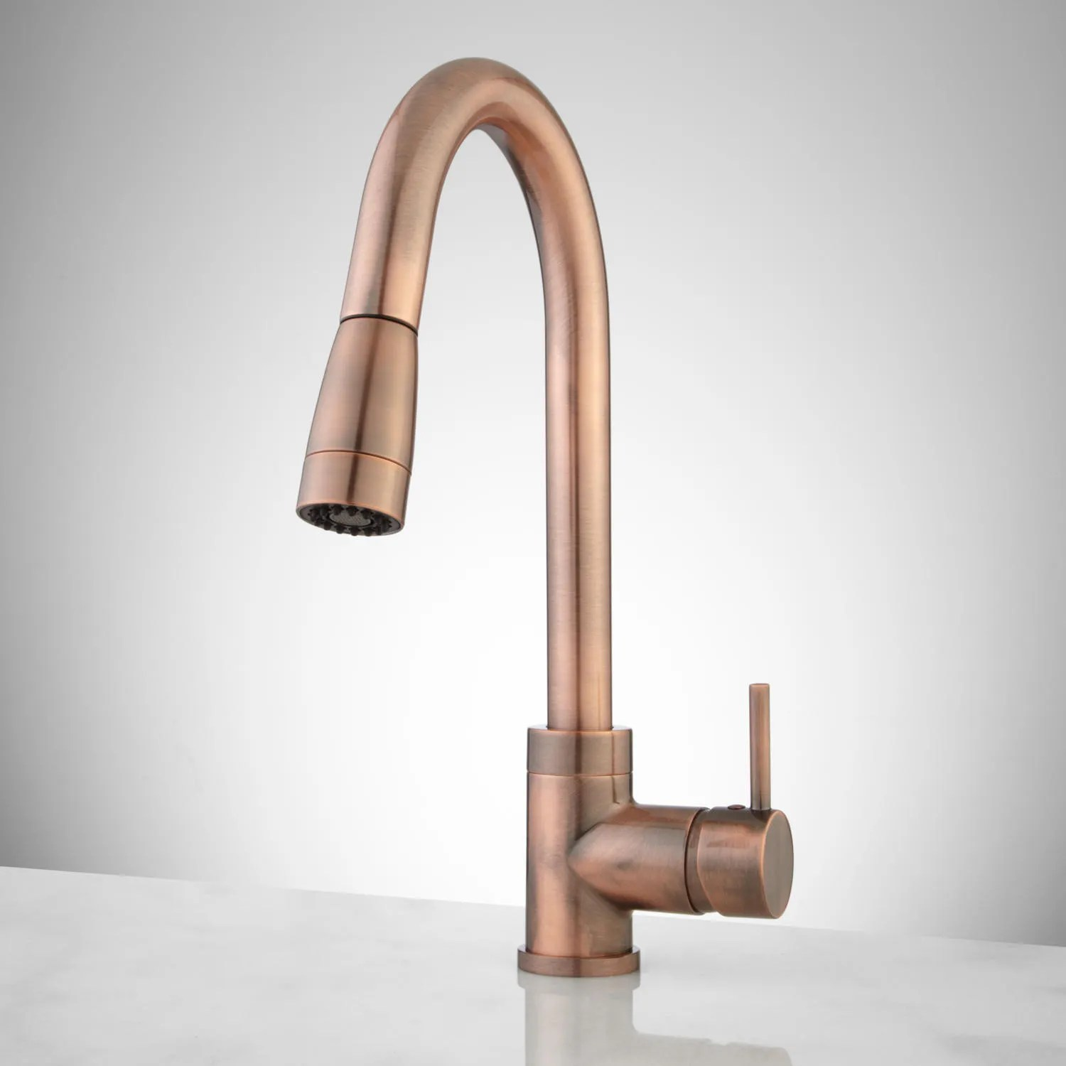 finite single hole kitchen faucet with swivel spout and pull down sprayer copper kitchen faucet Antique Copper