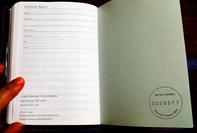 Hobonichi final page.