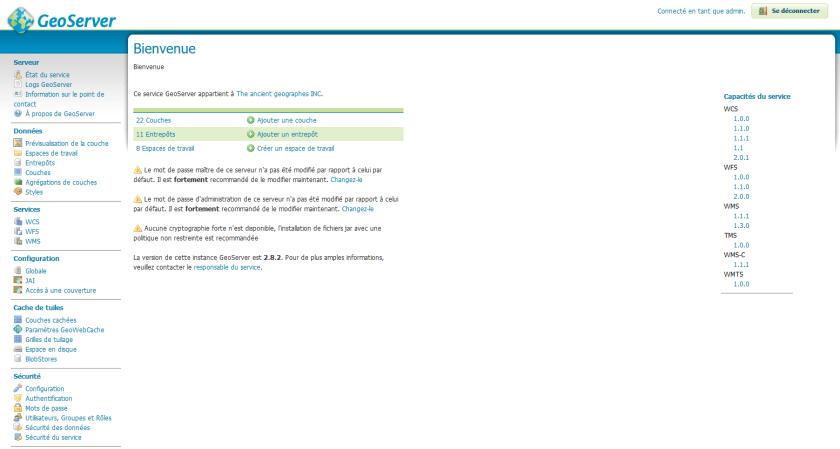 page d'accueil de l'administration de geoserver