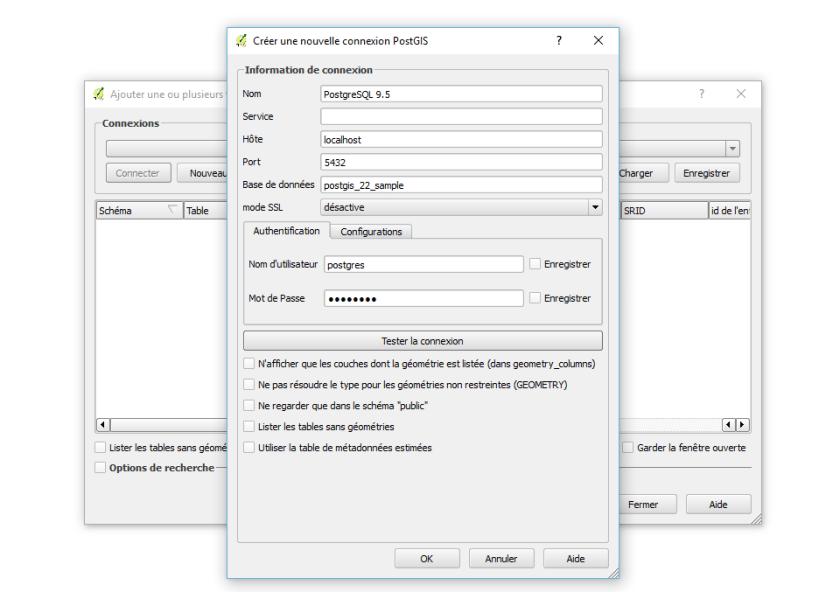 connexion qggis à une base de données postgresql