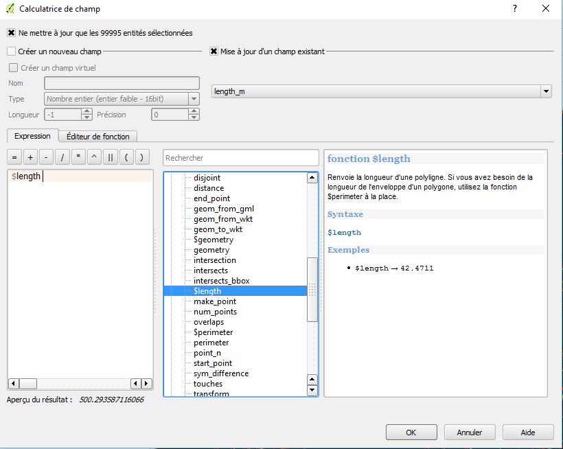 calcul de lenght_m avec la calculatrice de champ
