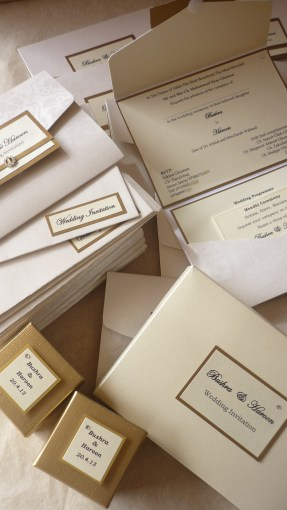 A6 Pocket boxed invites with Gold Favour Boxes