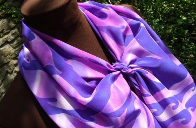 hand painted silk scarf purple leaf batik fionastolze silkandart
