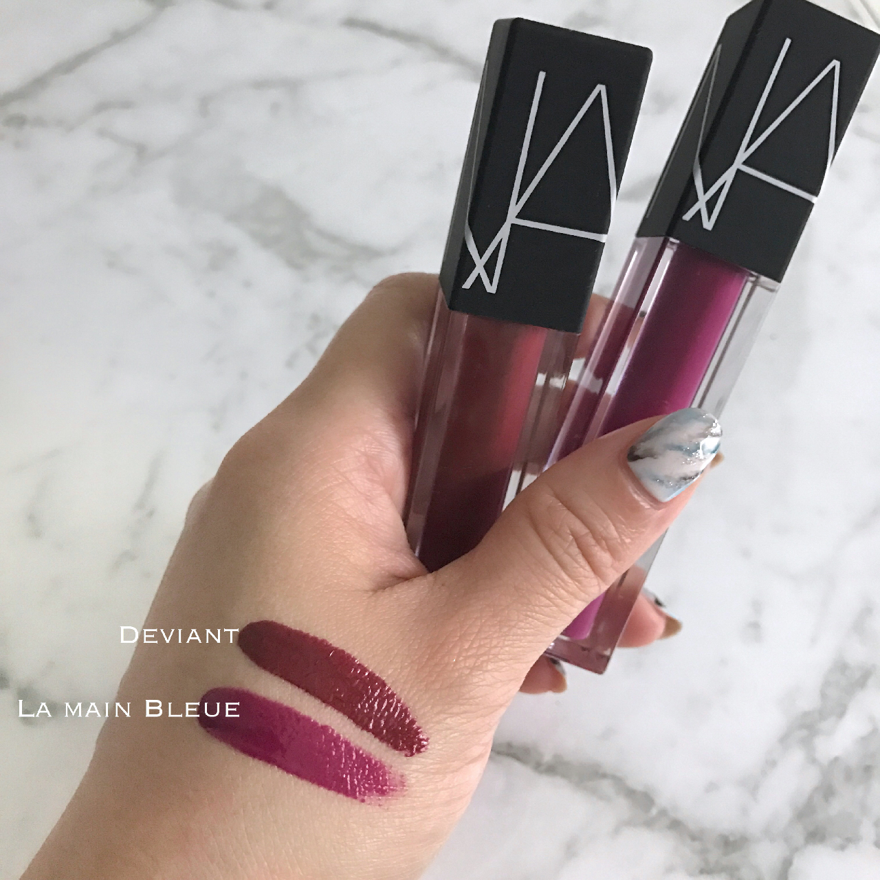 NARS Velvet Lip Glide Deviant & La Main Bleue swatches