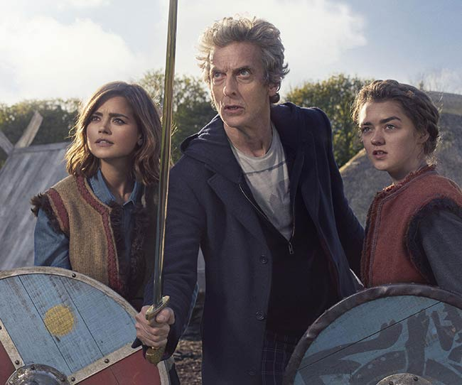 """Clara, Ashildr, and the Doctor in """"The Girl Who Died."""""""