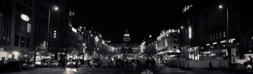 Wenseslas Square at night.
