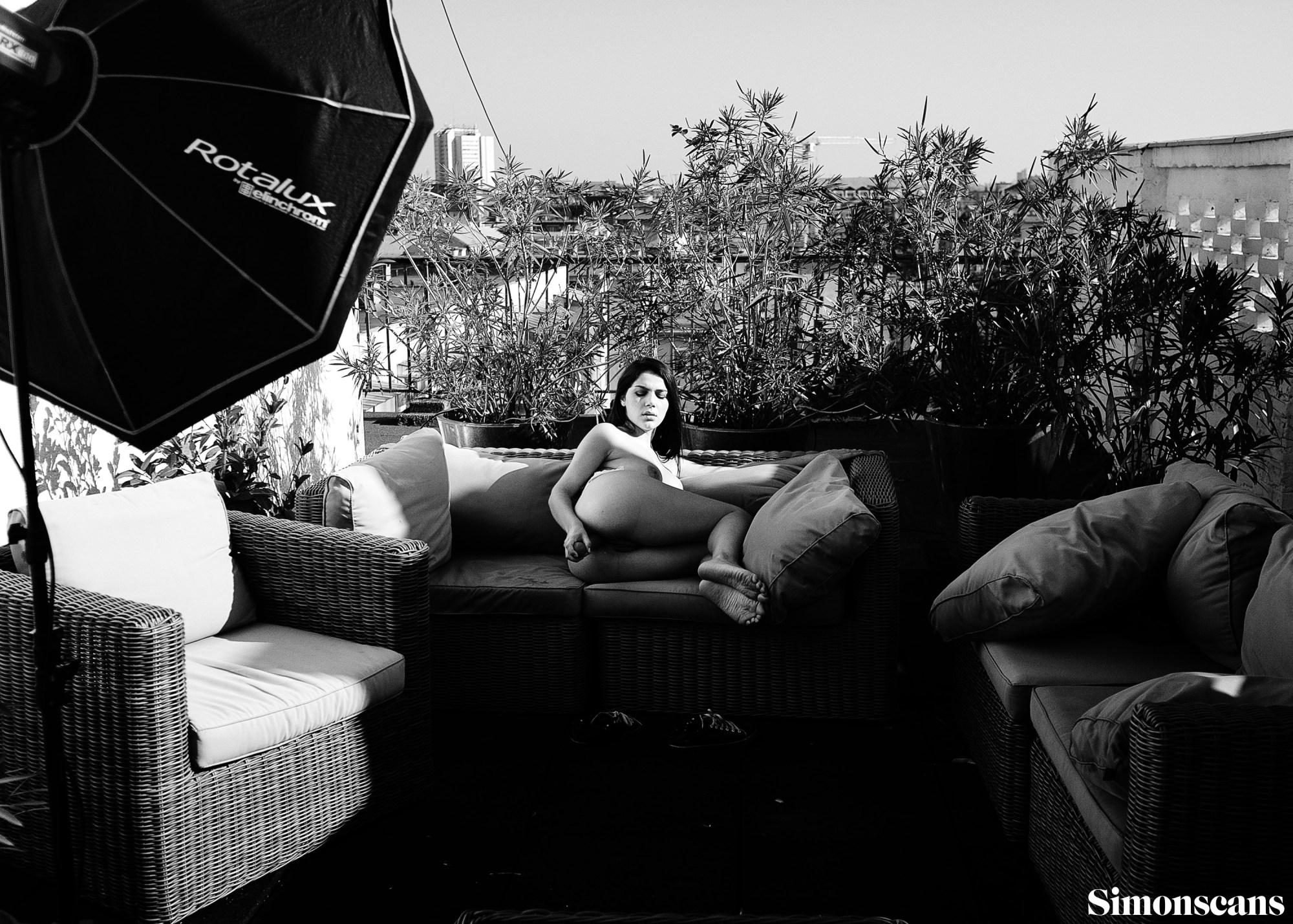 Valentina Nappi in black and white BTS