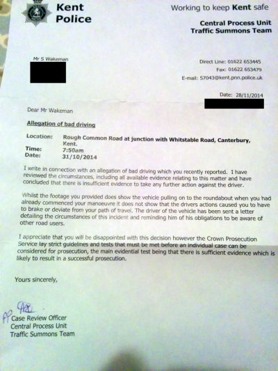 Letter from Kent Police