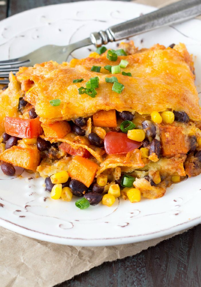 Crockpot Black Bean and Sweet Potato Enchiladas - Simple ...